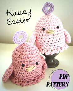 Aren't they cute? #crochet #easter #pattern #Egg cosy