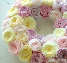 Dyed Coffee Filter Pastel Spring Wreath...like the roses, maybe add a cluster to a wreath