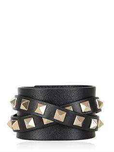 Valentino Rockstud Leather Cuff Bracelet on shopstyle.com