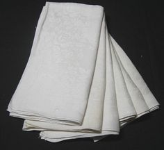 Set of 6 Vintage Linen Damask White Large Dinner Napkins with Roses Pattern for Upcycle Supply, Size 24 Inches Square, Very Large by VictorianWardrobe on Etsy