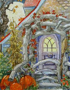 """A Moon-full Autumn Welcome Storybook Cottage Series""  © Alida Akers"