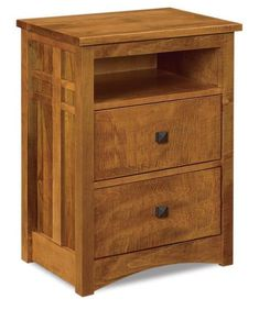 Amish Kascade Two Drawer Nightstand with Opening Mission style wood nightstands. Lots of features to choose from. Option to add a nightlight, slide out water tray, security tray and more. Wood furniture made in Amish country. #bedroom #nightstand #Amishbedroomfurniture