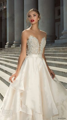julie vino fall 2017 bridal strapless deep plunging sweetheart neckline heavily embellished bodice beautiful princess a  line wedding dress halter back royal train (1217 1215) zv