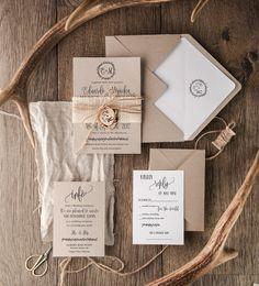 Rustic Wedding Invitation Set (20), Craft Wedding Invitation Suite, Burlap Wedding Invitation, Wooden Slice Invitations, Monogram Invites
