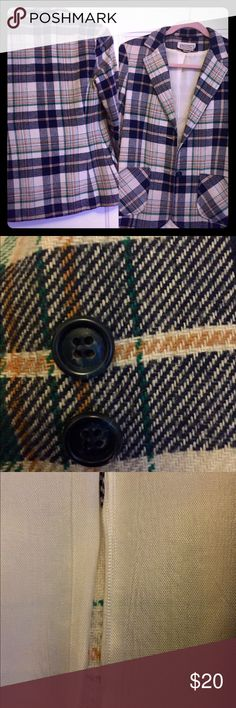 Classic Plaid Blazer: navy, green, cream and tan. Vintage Stylish blazer with navy and cream marbled buttons. Two front pockets near hem. Size: Small/Medium. Colors: Navy, cream, tan and green. Classic for fall. Minor tear in lining. Jackets & Coats Blazers