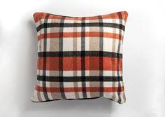 Orange Cushion Covers, Orange Cushions, Checked Cushions, Tartan, Throw Pillows, Design, Toss Pillows, Cushions