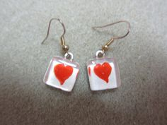 Heart Earrings Original watercolor painting by watercolorsNmore, $8.00
