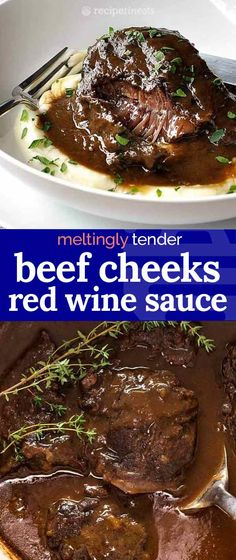 These slow cooked Beef Cheeks are braised in a beautiful red wine sauce until they are so meltingly tender, you can eat it with a spoon! The braising liquid in this Beef Cheeks recipe is infused with Wine Recipes, Beef Recipes, Cooking Recipes, Slow Cooking, Barbecue Recipes, Cooking Ideas, Slow Cooker Beef, Slow Cooker Recipes, Recipes