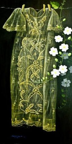 Painting of Philippine embroidery. Textile Patterns, Textiles, Filipino Art, Philippine Art, Traditional Gowns, Maria Clara, Filipiniana, Art For Art Sake, Science Art