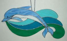 Dolphin Over Waves Stained Glass Suncatcher