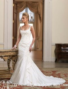 This is the style of my dream dress! custom made NT taffeta meet satin with straps wedding dress.