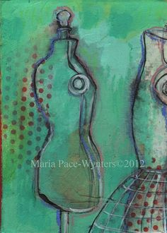 Two Little Dress Forms Original painting by by MariaPaceWynters, $60.00