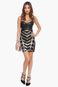 Cut It Out Sequin Dress in Black | Necessary Clothing