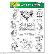 New Penny Black HOLLY DAY CRITTERS Clear Stamps Christmas Hedgehog Dog Cat Mice