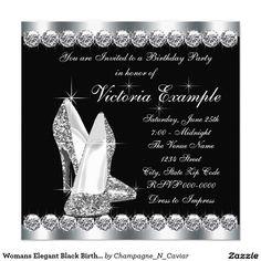 Womans Elegant Black Birthday Party 5.25x5.25 Square Paper Invitation Card