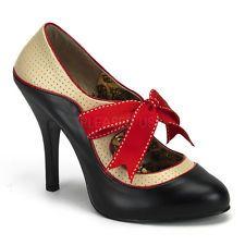 Black Nude Pinup Heels USO Burlesque Swing Dancing Shoes Spectator Pumps 6 7 8 9