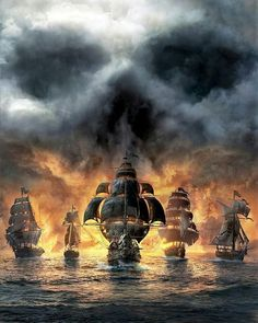 pirates are accompanied by their friends - so that the sea doesn't look vacant Pirate Art, Pirate Life, Pirate Ships, Space Pirate, Pirate Skull, Bateau Pirate, Old Sailing Ships, Sea Of Thieves, Ship Paintings