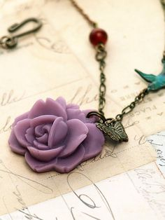 Misty Purple Rose and Teal Sparrow Necklace. Bohemian. Resin Flower Pendant and Brass Chain.