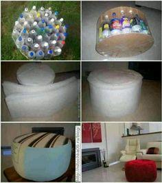 Crea un Ottoman de materiales reciclados.Con botellas de geseosa, 2 tapas de madera redonda y goma espuma. Muy bueno y fácil.