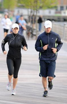 Justin Timberlake working out with Jessica Biel.