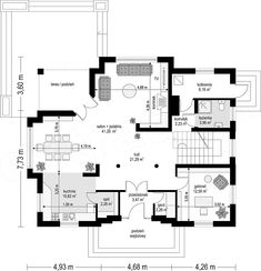 Rzut parteru projektu Filip Modern House Design, House Plans, Floor Plans, How To Plan, Country, Interior, Building Homes, Two Story Houses, Country Houses
