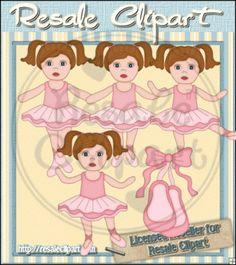 Ballerina Girls Brown Clipart