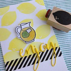Everyone needs a little lemon stamp with a leaf on the side as a bonus #impresscardsandcrafts #handmade #handmadecards #washitape #summer #lawnfawn #savvystamps