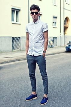 Men's White Shortsleeve Shirt, Blue Chinos, and Blue Suede Derby Shoes