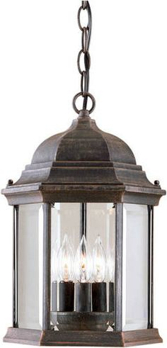 Photon 3 Light 15'' Painted Rust Finish Incandescent Outdoor Pendant with Clear Beveled Glass Panels at Menards