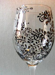 Hand Painted Wine Glass Black and White Vine by NewHopeElizabeth, $20.00