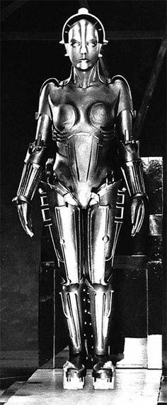 """Maria the """"machine man."""" 1927 From the silent German movie Metropolis. Great pre WWII art neuvou film. One of the first science fiction films to ever grace the silver screen."""