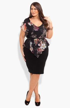 City Chic Print Chiffon & Ponte Knit Dress (Plus Size) available at…