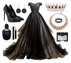 A fashion look from January 2017 featuring off shoulder homecoming dress, black pointy-toe pumps and rose charm. Browse and shop related looks. Lila Outfits, Edgy Outfits, Classy Outfits, Pretty Prom Dresses, Elegant Dresses, Nice Dresses, Fairytale Fashion, Fairytale Dress, Queen Outfit