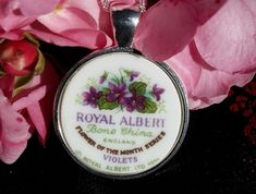 Royal Albert Violets .... Pendant (P59) Broken China Jewelry, Royal Albert, Violets, Tea Set, Silver Necklaces, Sterling Silver Chains, Ann, How To Memorize Things, Im Not Perfect