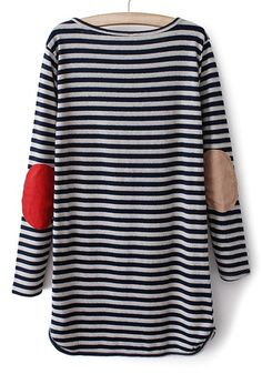 easy striped dress…love the elbow patches ++