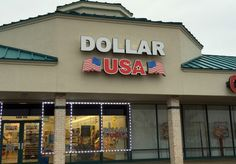 Dollar USA LED illuminated channel letter sign in Sandusky, Ohio.