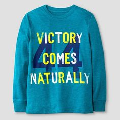 Boys' Long Sleeve 'Victory Comes Naturally' Graphic T-Shirt Cat & Jack™ - Teal : Target