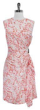 dda808a15b Neon Coral   White Print Silk Short Casual Dress