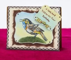 Coloured using shades of blue, brown and orange pencil, this squawking bird has been mounted onto seven different paper mediums to create a lovely layered card