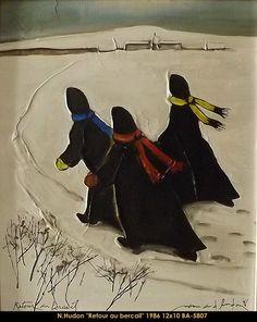 Original mixed media painting by Normand Hudon New BOOK available November 9 2014 #hudon #art #caricaturist #winterscene #mixedmedia #canadianartist #quebecartist #originalpainting #balcondart #multiartltee