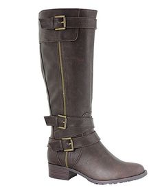 Loving this Chocolate Texas Wide-Calf Boot on #zulily! #zulilyfinds