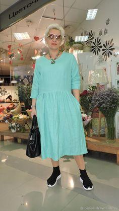 698cfffe1f7 Платья ручной работы. Льняное платье .Голубая лагуна. Евгения (podium-life)