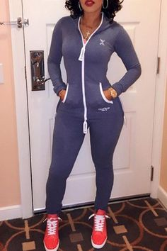 Stylish Zippered Long Sleeve Bodycon Hooded Jumpsuit For Women