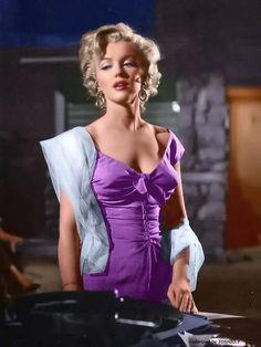 """❤ Marilyn Monroe ~*❥*~❤, """"Niagara"""" ~ 1953, color enhanced"""