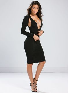Sidelines Plunging Cut-Out Midi Dress