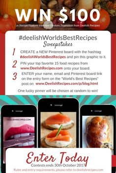 Calling all recipes developers and creative moms and Chefs! Win your Recipe Interview Feature from deelishrecipes.com's in the 2017 #deelishworldsbestrecipes sweepstakes! #sweepstakes Best Dinner Recipes, Delicious Vegan Recipes, Great Recipes, Favorite Recipes, World's Best Food, Good Food, Cookbook Recipes, Cooking Recipes, No Bake Cake