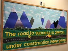 Growth mindset bulletin board for the front office. Travel Bulletin Boards, Office Bulletin Boards, Elementary Bulletin Boards, Christmas Bulletin Boards, Music Bulletin Boards, Reading Bulletin Boards, Winter Bulletin Boards, Preschool Bulletin Boards, School