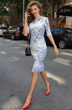 Miranda Kerr in classy blue floral dress