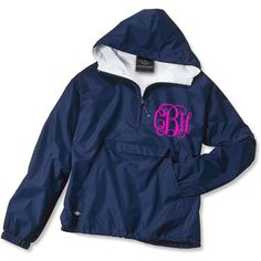 YOUTH Monogrammed Personalized Navy Quarter Zip Rain Jacket Pullover -... ($37) ❤ liked on Polyvore featuring jackets