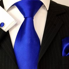 Paul Malone Extra Long Silk Necktie, Pocket Square and Cufflinks Royal Blue